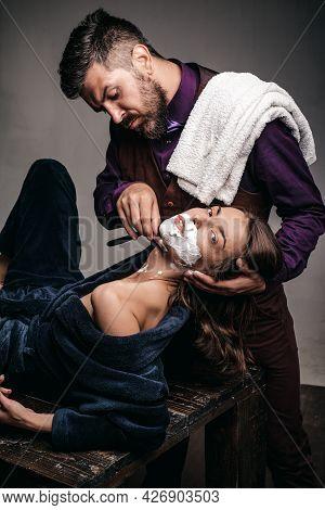 Gender Equality. Barber Concept. Fashion Vogue. Woman At Barbershop.