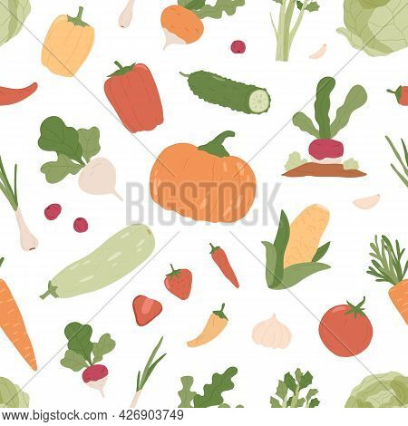 Seamless Pattern With Fresh Organic Vegetables And Healthy Vegetarian Green Food On White Background