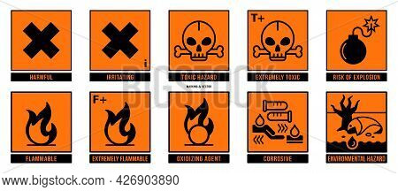 A Set Of Manipulation Symbols For Packaging Cargo Products And Goods. Marking - Hazard Symbols. Vect