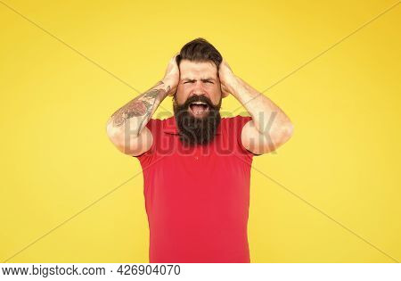 Oh No. Losing Concept. Failure. Disappointed Guy. Inner Energy. Lost Success. Bearded Man In Casual