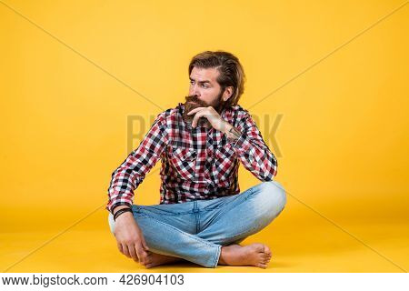 Serious Handsome Bearded Guy With Unshaven Face And Stylish Hairdo Wear Casual Clothes, Barber Shop