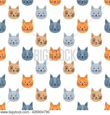 Bright Seamless Pattern With Cats, Vector Illustration