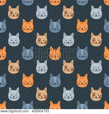 Seamless Pattern With Cats And Dots, Vector Illustration