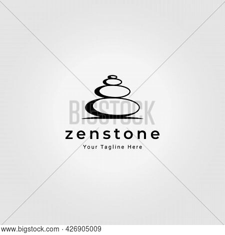 Zen Stone Logo Vintage Vector Illustration Design