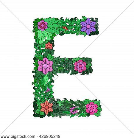 Letter E - Bright Element Of The Colorful Floral Alphabet On White Background. Made From Flowers, Tw