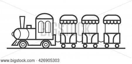 A Train With Carriages In An Amusement Park. An Attraction For Children. Outline Vector Line Illustr