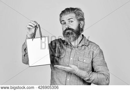 Buy Gift. Black Friday. Cyber Monday Sale. Nice Purchase. Bearded Man Hold Shopping Bags. Retail Con