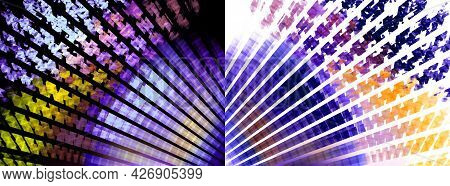 Violet Rays With Yellow Splashes Spread Over Black And White Backgrounds. Two Backgrounds In One. Se