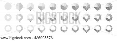 Segment Slice Sign. Pie Chart Gray Icons. 10, 2, 4, 5 Segment Infographic. Wheel Round Diagram Part