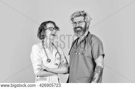 Evidence Based Medicine. Medical Staff People. Team Of Doctor And Nurse Cooperating. Doctors In Hosp