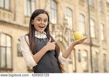 Great For Your Teeth. Little Kid Point Finger At Apple. School Snack. Healthy Eating. Dental Health.