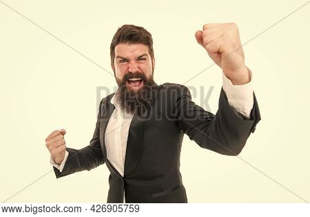 Time For Celebrating. Happy Winner Isolated On White. Businessman Make Winning Gesture. Bearded Man
