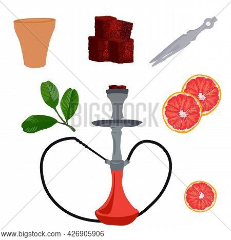 Hookah Vector Stock Illustration. Pipe, Charcoal Briquettes, Hose, Tobacco. A Set For A Bar. Isolate