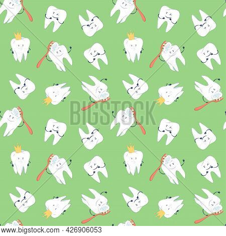 Seamless Pattern With Cute Molars, Teeth Characters With Face And Handles Brushing With A Toothbrush