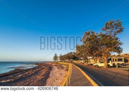 Moonta Bay, South Australia - October 26, 2019: Moonta Bay Caravan Park With Cars At Sunset Viewed A