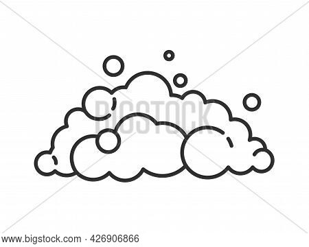Soap Foam Cloud With Bubbles. Flat Vector Line Icon. Outline Illustration Of Suds, Foam, Smoke, Sham