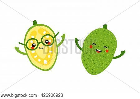 Couple Of Cute Smiling Cartoon Style Jackfruit Characters For Food Design.