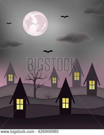 Foggy Night In Town. Creepy Autumn Background. Vector Illustration.