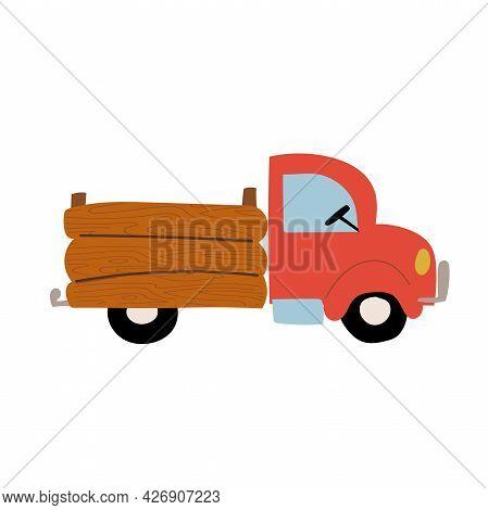 Red Farm Pick Up Truck Flat Hand Drawn Car
