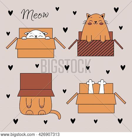 Set Of Cute Doodle Cats. Funny Cats In A Box. Vector Illustration With Pets