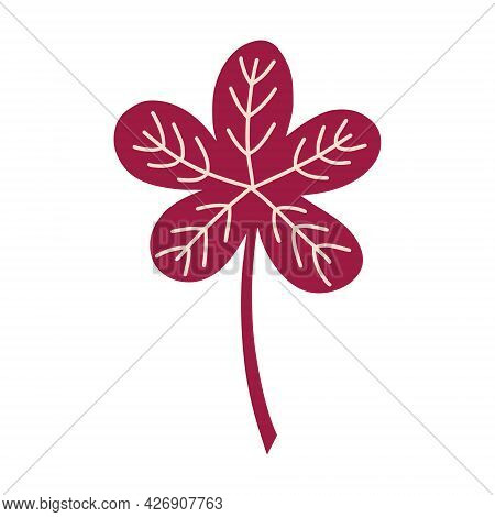 Autumn Fallen Leaf Isolated On A White Background . Vector Illustration