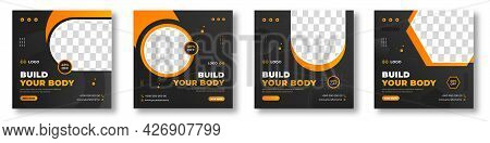 Fitness Gym Social Media Post Banner Template With Black And Yellow Color, Gym Social Media Banner,