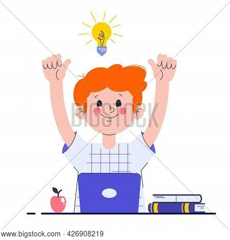 Happy Boy With His Laptop Having A Good Idea. Elementary School Pupil. A Schoolboy Found A Solution