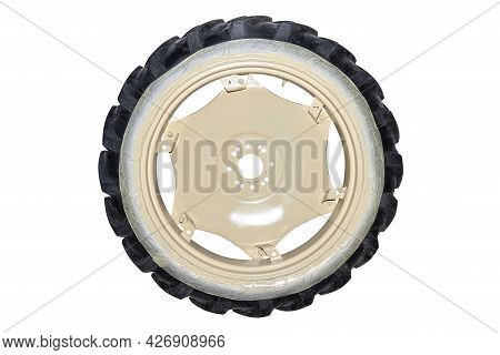 Freshly Painted Rims In A Light Color From A Farm Tractor, Isolated On A White Background With A Cli