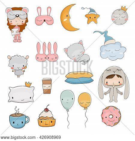 Pajama Party Cute Cartoon Set. Vector Illustration.