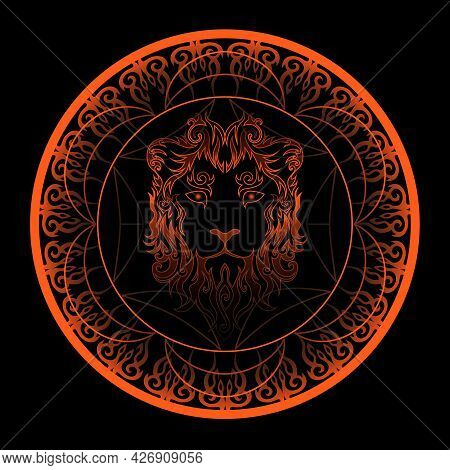 Abstract Swirly Lion Face In Ornamented Golden Circle, Leo Sign