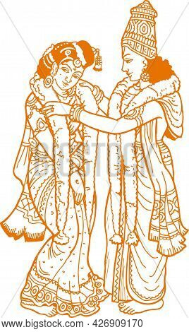 Sketch Of Hindu Wedding Traditional Ritual Of Bride And Groom Stand Exchanging Garland Together Outl