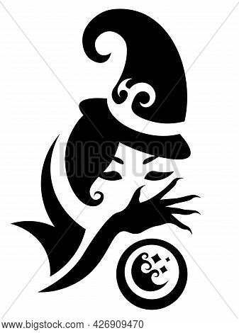 Cute Abstract Black And White Witch With Crystal Ball