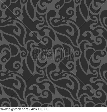 Beautiful Dark Elegant Swirly Seamless Pattern In Shades Of Grey
