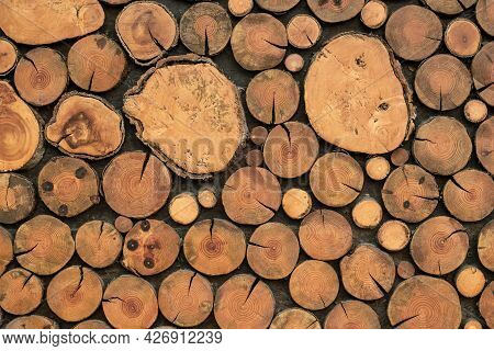 Brown Logs Texture, Wooden Backgrounds, Wood Light Natural Timber Floor, Rustic Vintage Surface, Gra