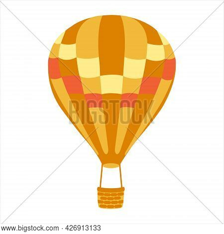Orange Striped Hot Air Balloon With Basket. Hot Air Balloon Isolated On White Background. Flat Carto
