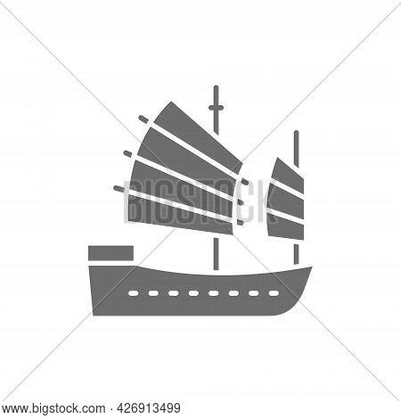 Asian Junk Boat, Hong Kong Ship Grey Icon.