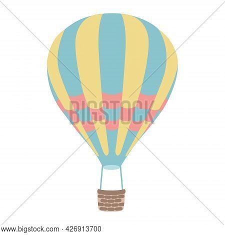 Yellow-blue Hot Air Balloon. Vector Illustration. Transportation Background.