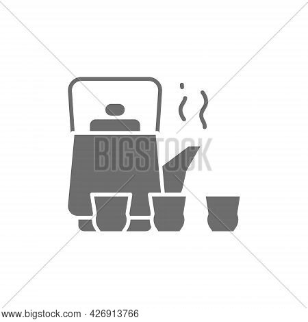 Chinese Tea Ceremony, Kettle And Cups Grey Icon.