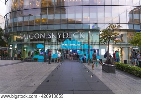 Ho Chi Minh, Vietnam - Oct 18, 2019 : The Entrance To The Saigon Skydeck Of Bitexco Financial Tower