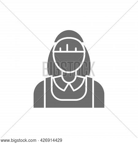Vector Housewife, Cleaner, Cleaning Staff Grey Icon.