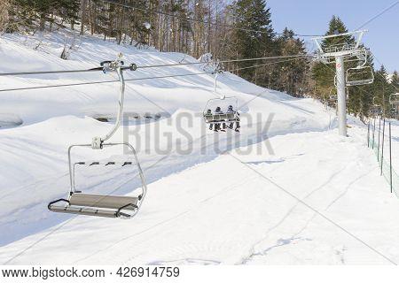 Niseko, Japan - March 5,2019 : The Ski Gondola Of Niseko Mt. Resort Grand Hirafu At Niseko, Hokkaido