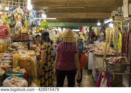 Ho Chi Minh, Vietnam - Oct 18, 2019 : Unidentified Vietnamese Merchant Walking In Local Market In Ho
