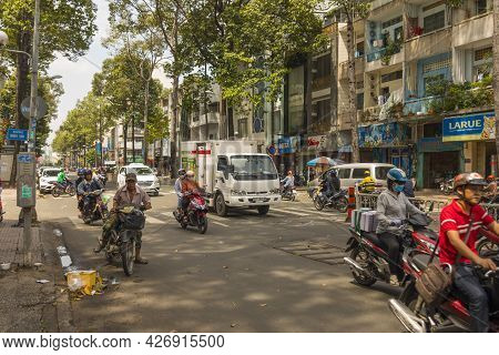 Ho Chi Minh, Vietnam - Oct 18, 2019 : Street View Of Ho Chi Minh With Unidentified Local Vietnamese