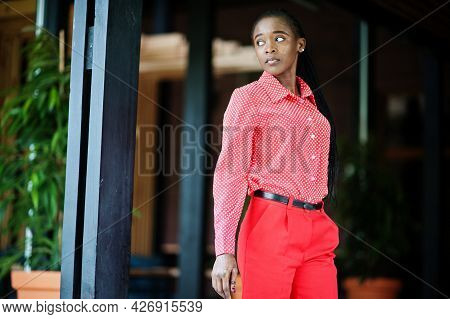 Pretty Braids Business African American Lady Bright Bossy Person Friendly Wear Office Red Shirt And