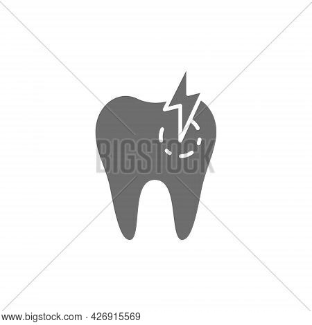 Tooth With Caries, Toothache, Sick Dental Grey Icon.