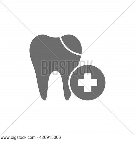 Vector Dental Filling, Cured Tooth Grey Icon.
