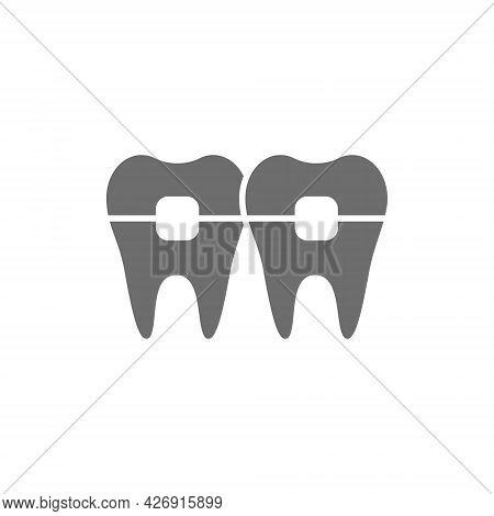 Teeth With Braces, Orthodontics, Brackets Grey Icon.