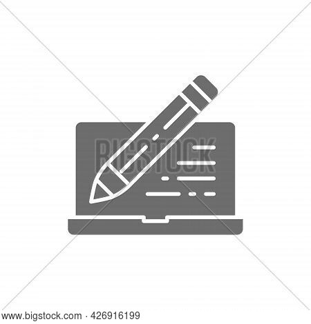 Laptop With Pen, Write Review, Email Notebook, Chat Grey Icon.