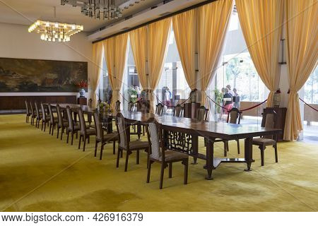 Ho Chi Minh, Vietnam - Oct 17, 2019 : View Of Dinning Room Inside Independence Palace In Ho Chi Minh
