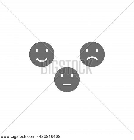Feedback Emoticons, Positive, Neutral And Negative Faces Grey Icon.